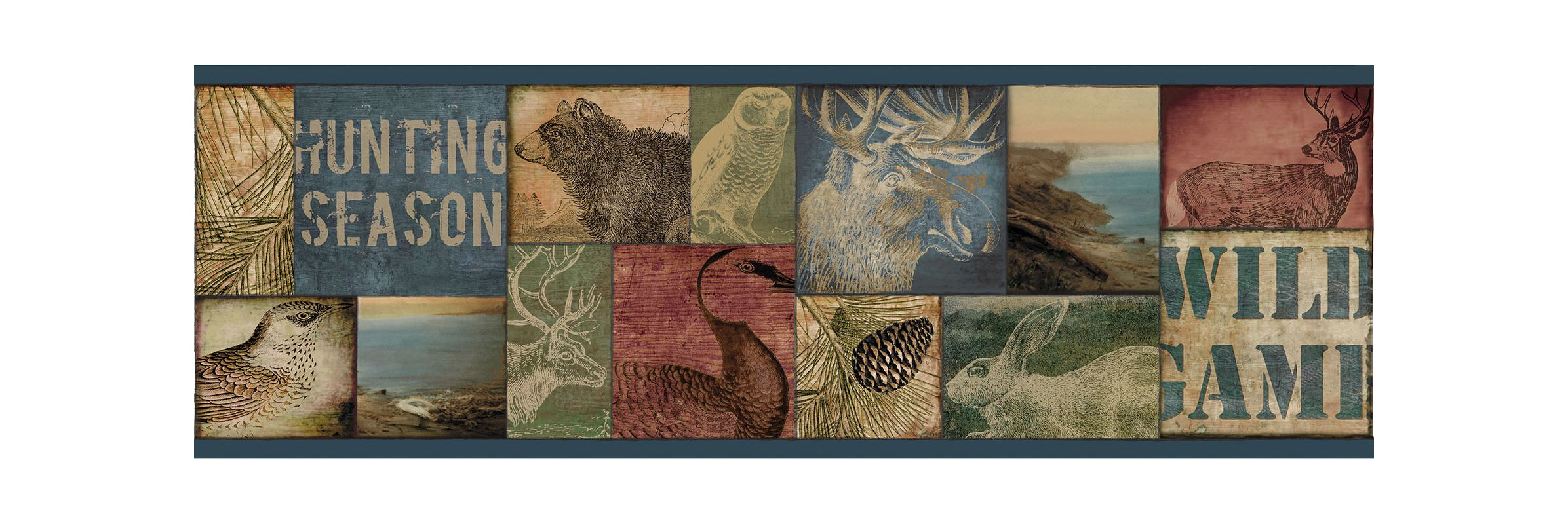 Brewster TLL01492B Trumball Teal Wild Game Border Wallpaper Teal Wild