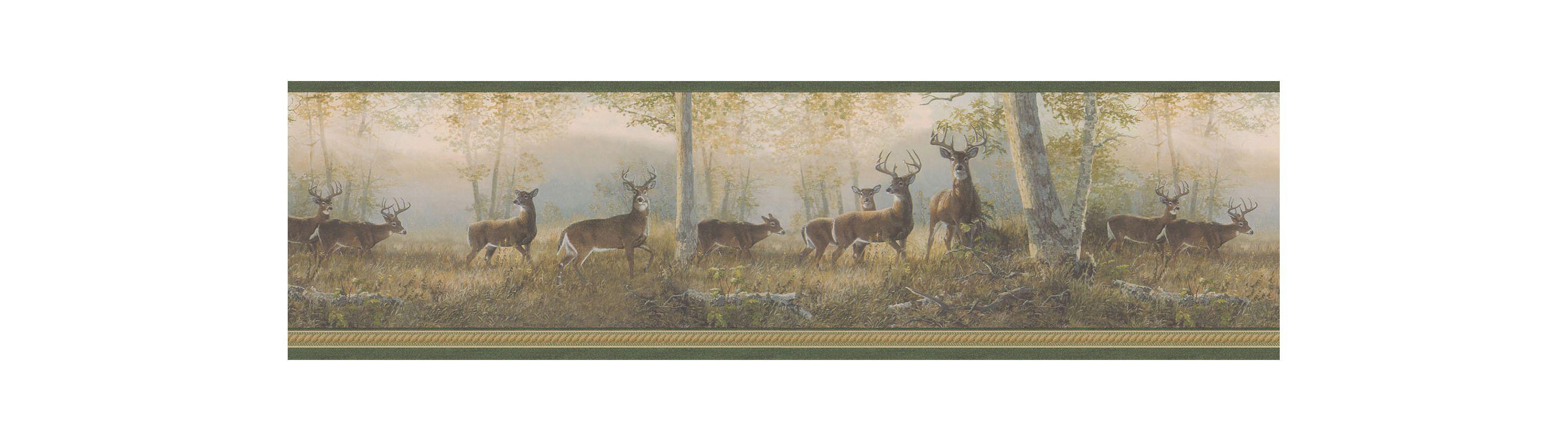 Brewster TLL44341 Storrie Green Deer Border Wallpaper Green Deer Home