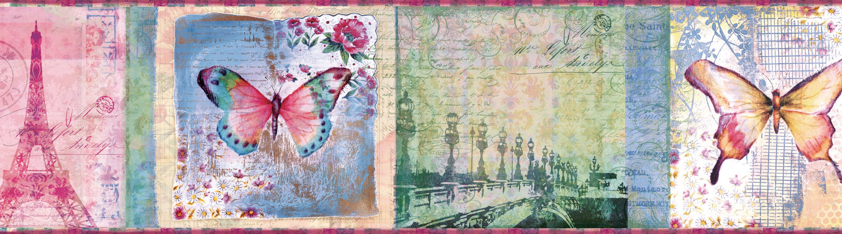 Brewster TOT46401B Worldly Pink Bon Voyage Portrait Border Wallpaper