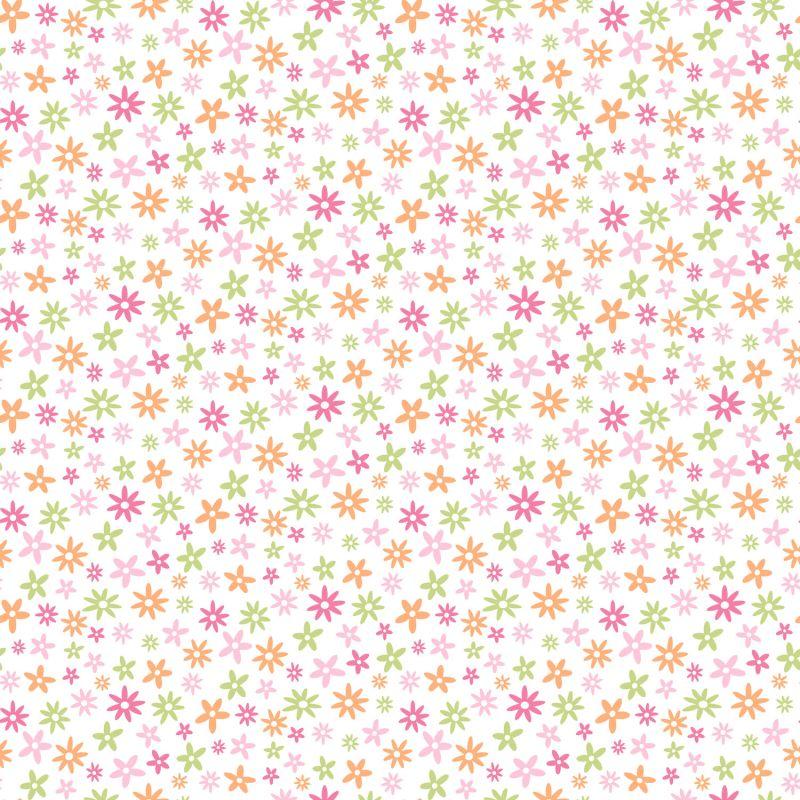 Brewster TOT47121 Delilah Pink Mod Flower Toss Wallpaper Pink Mod