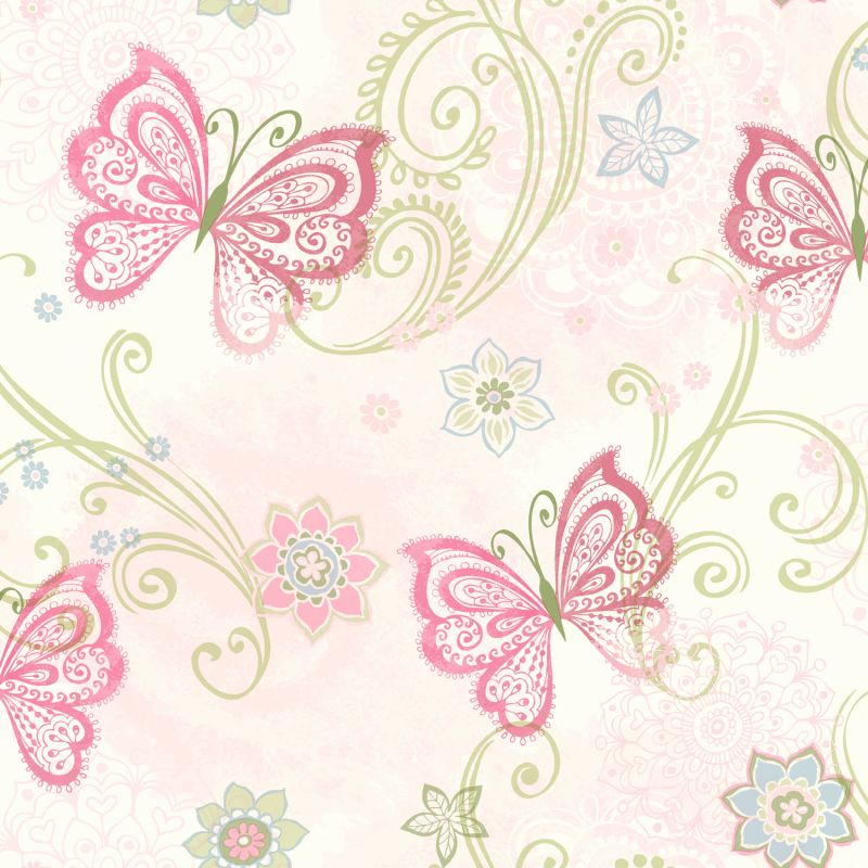 Brewster TOT47151 Fantasia Pink Boho Butterflies Scroll Wallpaper Pink