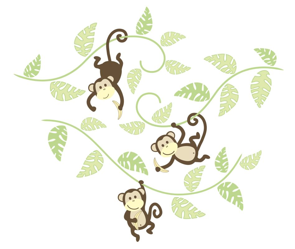 Brewster WPK0019 Monkeying Around Wall Art Kit Home Decor Wall