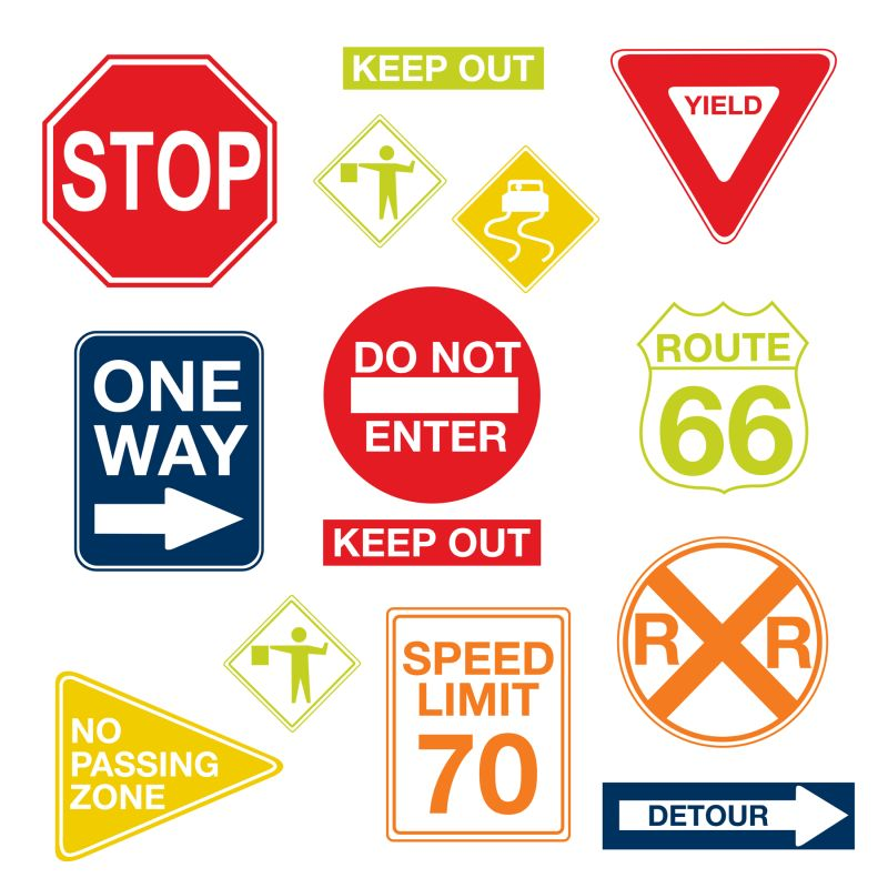 Brewster WPK0617 Road Signs Wall Decals Home Decor Wall Decals
