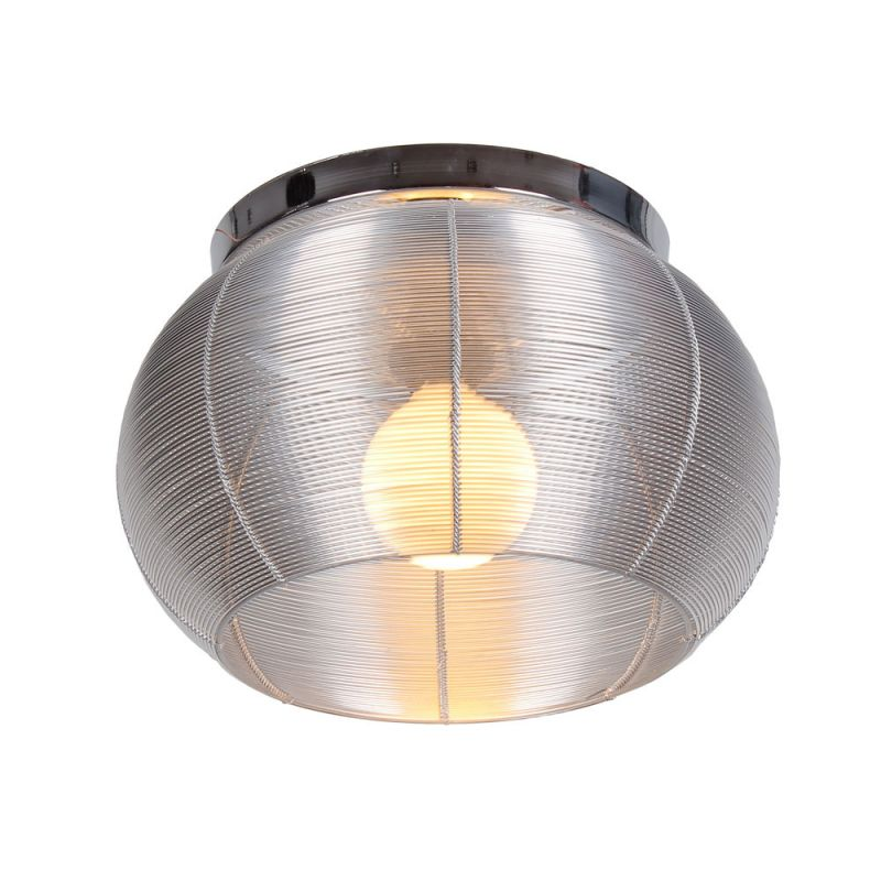 Bromi Design B1411 Lenox 1 Light Flush Mount Ceiling Fixture Silver