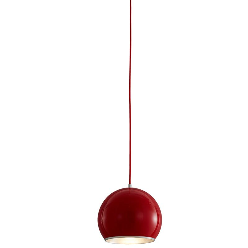 Bromi Design B4201 Wade 1 Light Pendant with Red Shade Chrome Indoor