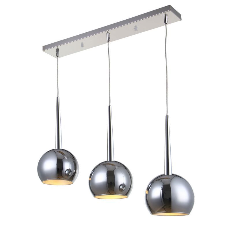 "Bromi Design B4203 Wade 43.3"" Tall 3 Light Pendant with Chrome Shades"