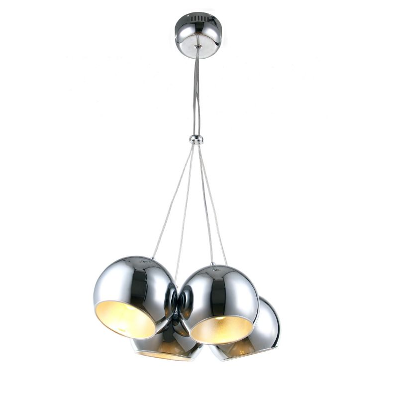 "Bromi Design B4205 Wade 43.3"" Tall 4 Light Pendant with Chrome Shade"