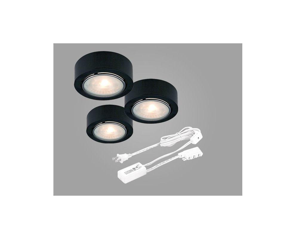 low voltage puck light 3 pack kit with transformer lightingdirect. Black Bedroom Furniture Sets. Home Design Ideas