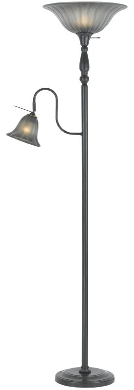 Cal Lighting BO-2052 2 Light Pedestal Base Torchier Floor Lamp Dark