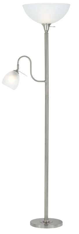 Cal Lighting BO-2054 2 Light Pedestal Base Torchier Floor Lamp Brushed