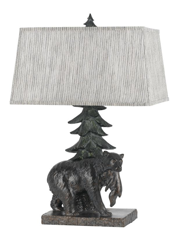 Cal Lighting BO-2595TB Bear 1 Light Table Lamp with Fabric Shade