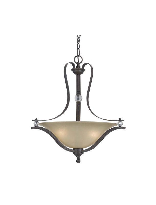 Cal Lighting FX-3530/1P Riverton 3 Light Bowl Shaped Pendant Dark