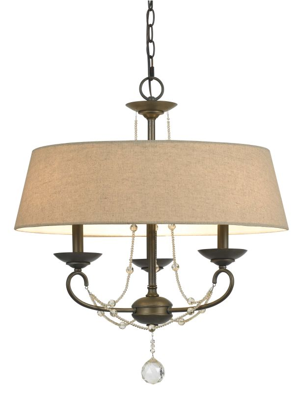 Cal Lighting FX-3532/3 3 Light Dawson Chandelier With Burlap Shade Oil Sale $327.60 ITEM: bci2235547 ID#:FX-3532/3 UPC: 20193135013 :