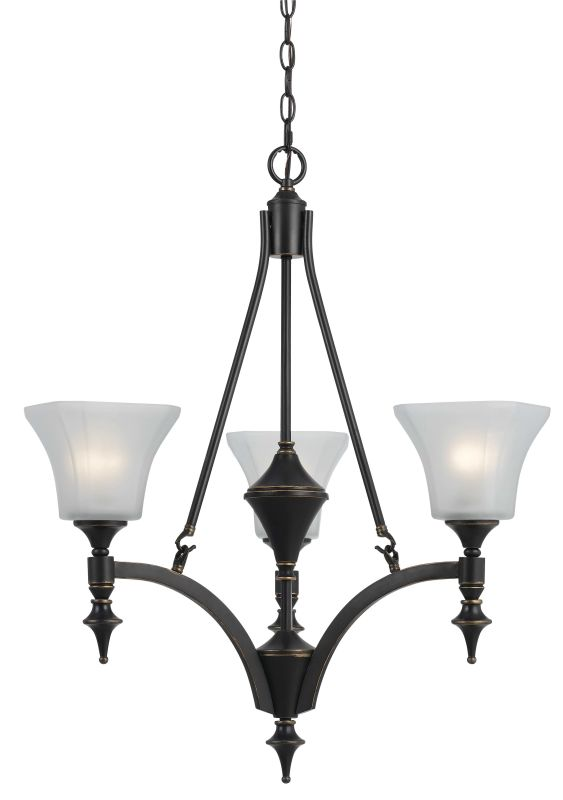 Cal Lighting FX-3541/3 3 Lights Rockwood Iron Chandelier With Glass