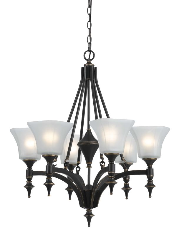 Cal Lighting FX-3541/6 6 Lights Rockwood Iron Chandelier With Glass