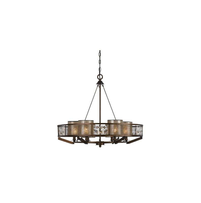 Cal Lighting FX-3557/6 Mochis 6 Light 1 Tier Drum Chandelier Coppery