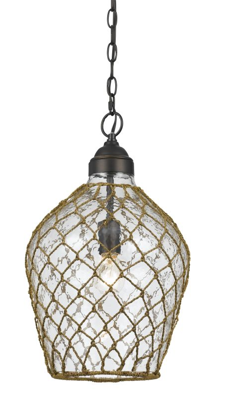 Cal Lighting FX-3578/1P Rope 1 Light Pendant with Glass Shade Glass
