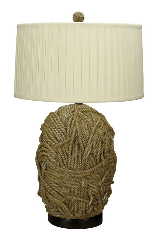 "Cal Lighting BO-2014 150 Watt 32.5"" ""Rope Knot"" Resin Table Lamp with"