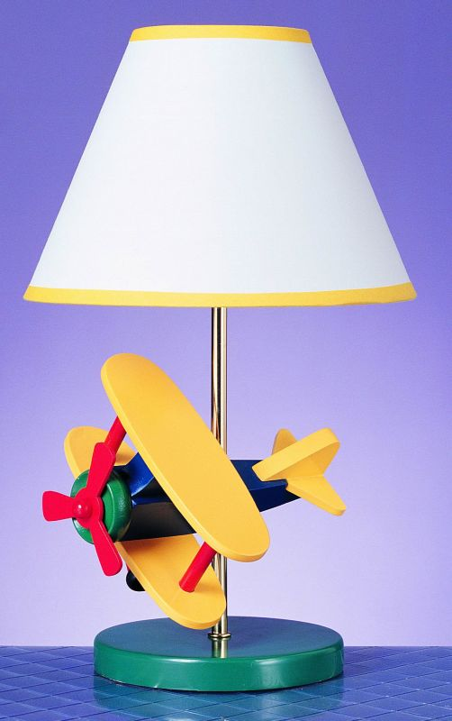 "Cal Lighting BO-372 60 Watt 15"" Kids / Youth Wood Airplane Lamp with"