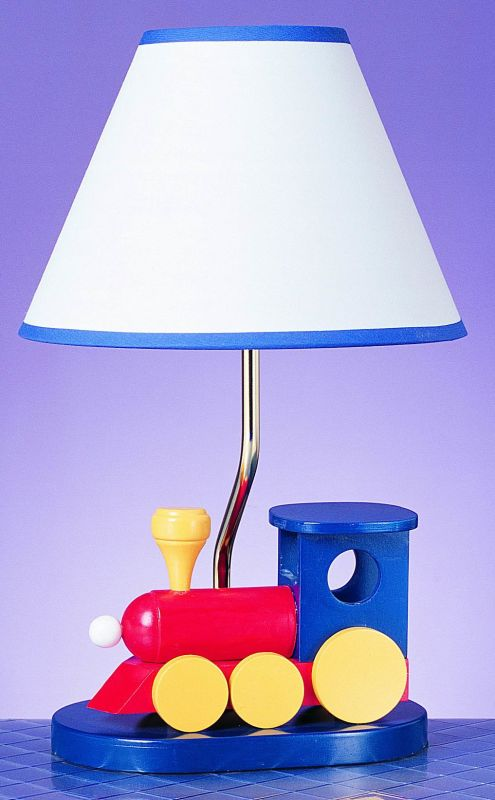 "Cal Lighting BO-373 60 Watt 15"" Kids / Youth Wood Train Table Lamp"
