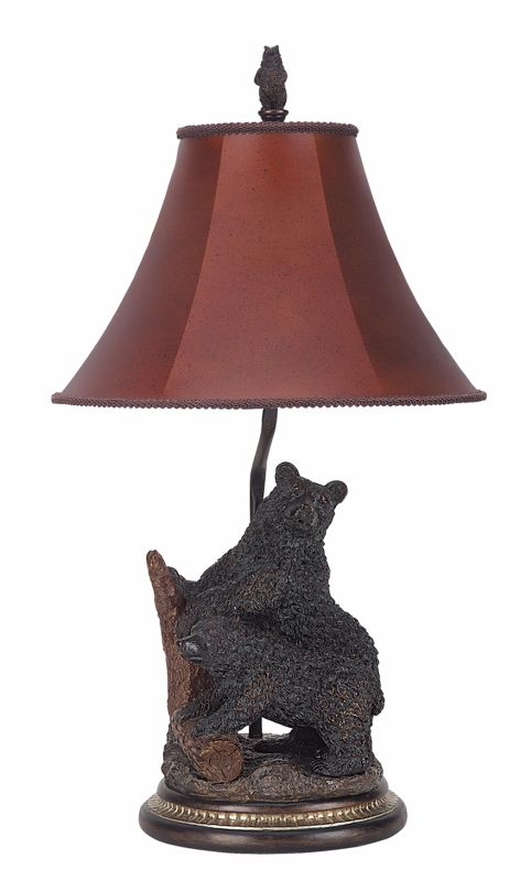 "Cal Lighting BO-520 100 Watt 29"" Country / Rustic Resin Bears Table"