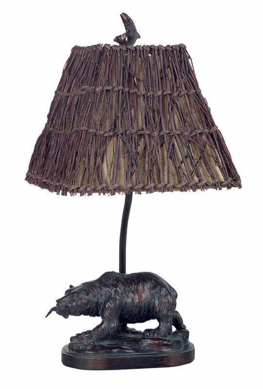 "Cal Lighting BO-878 60 Watt 22"" Country / Rustic Resin Bear Table Lamp"