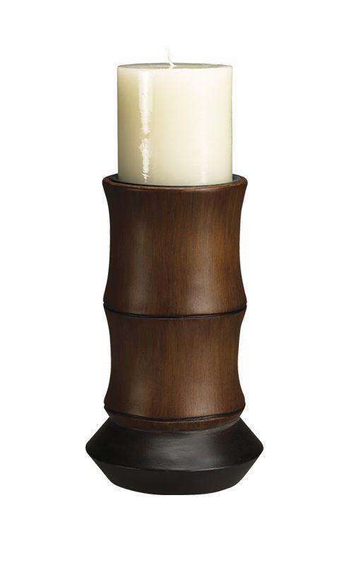 "Cal Lighting BO-882SC 8.5"" Asian / Oriental Resin Bamboo Candle Holder"