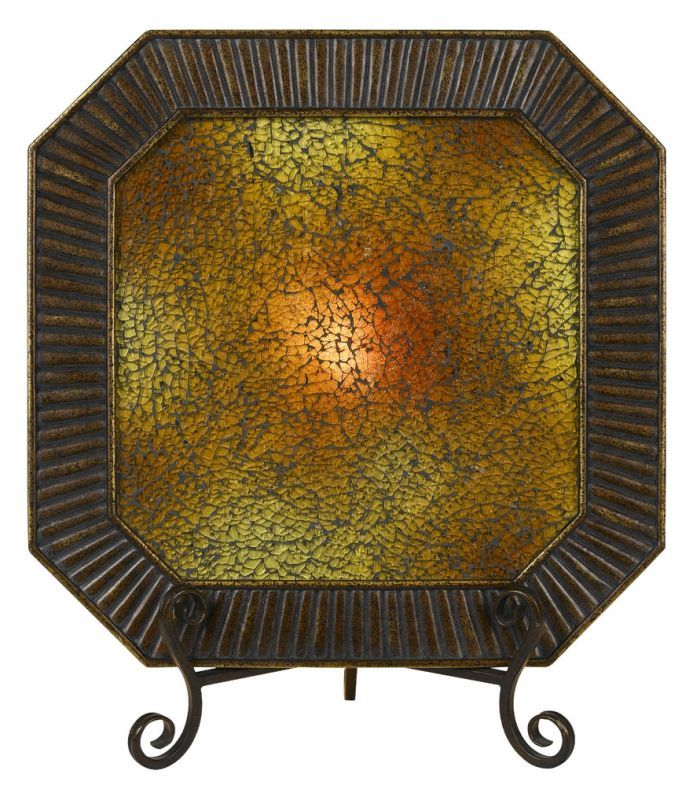"Cal Lighting TA-318PT 15 Watt 19"" Tuscan Resin Lighted Charger Plate"