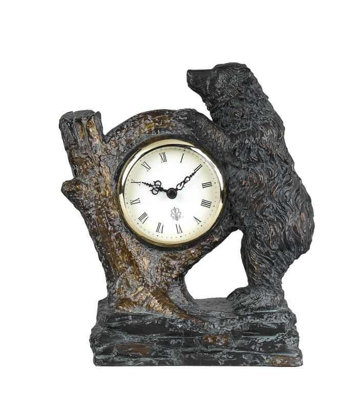 """Cal Lighting TA-507CLK 9"""" Country / Rustic Resin Bear with Tree Trunk"""