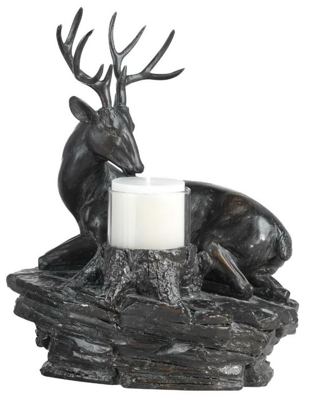 "Cal Lighting TA-599LC 10.5"" Country / Rustic Resin Deer Candle Holder"