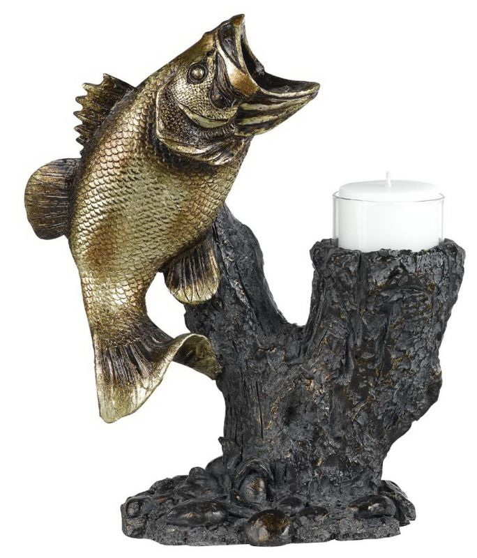 "Cal Lighting TA-605LC 10.5"" Country / Rustic Resin Bass Candle Holder"