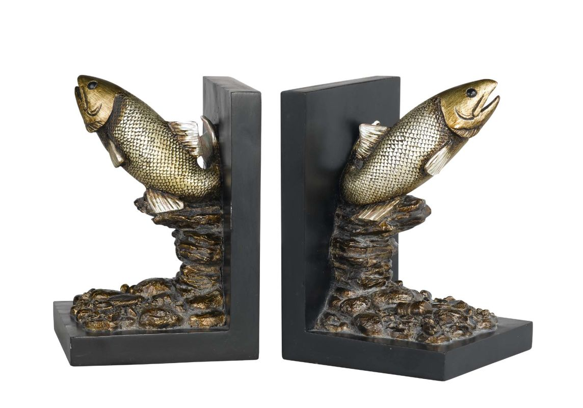 "Cal Lighting TA-677BD 7.5"" Country / Rustic Resin Trout Bookends Aged"