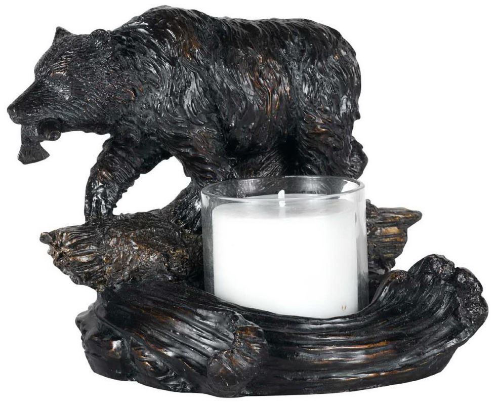 "Cal Lighting TA-878LC 6.75"" Country / Rustic Resin Bear with Fish"