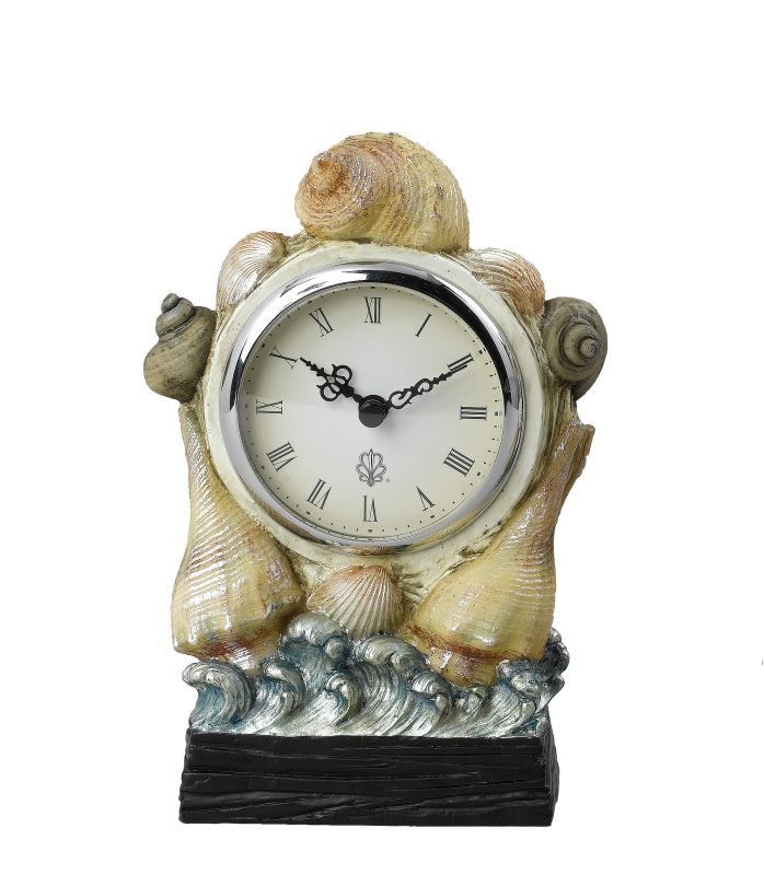 "Cal Lighting TA-934CLK 7.5"" Tropical / Safari Resin Seashell Clock"