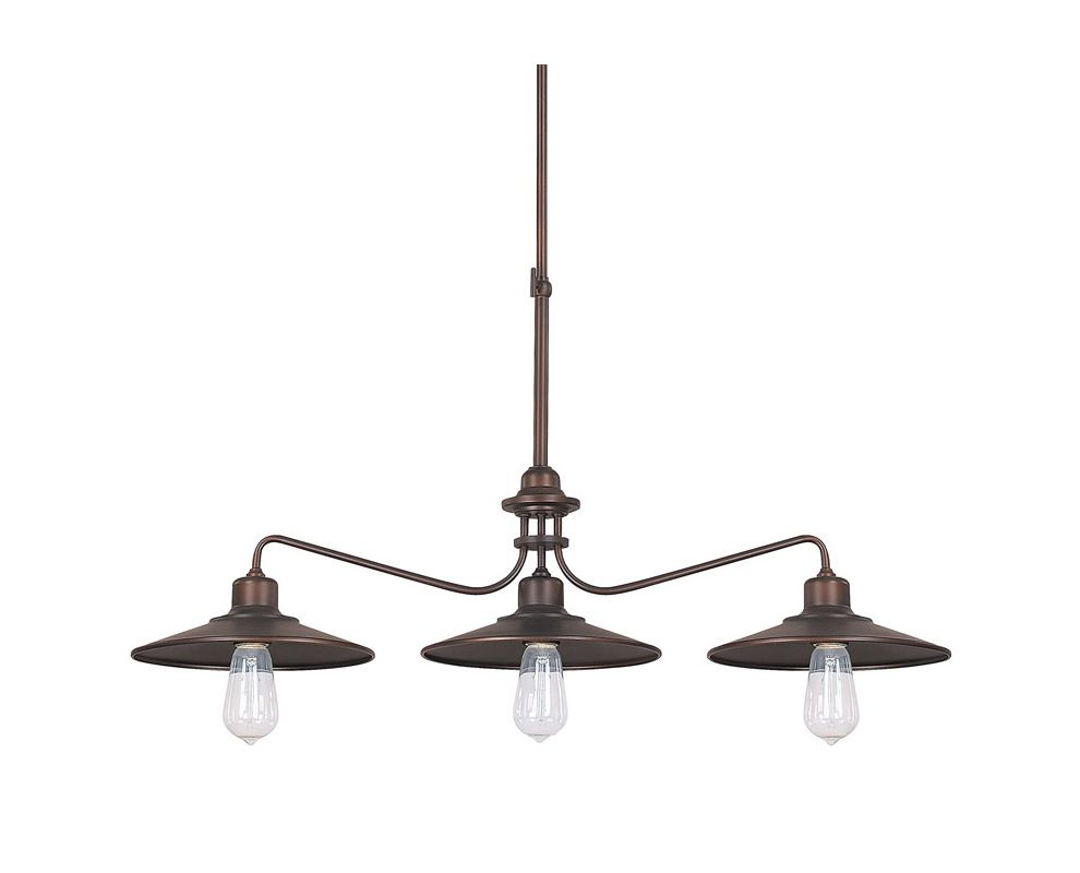 Capital Lighting 4198 Urban 3 Light 1 Tier Linear Chandelier Burnished