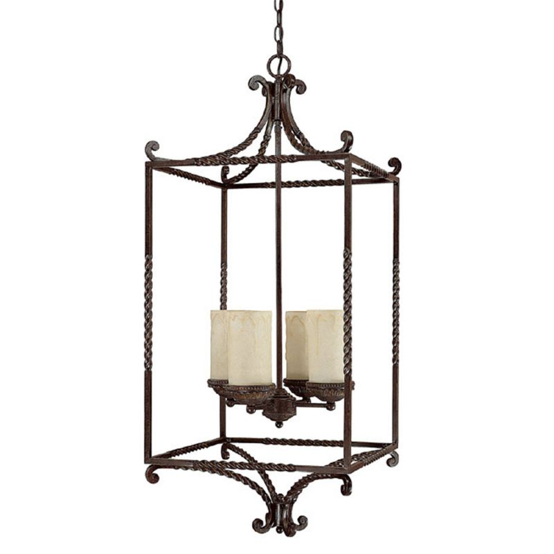 Foyer Caged Chandelier : Capital lighting wb weather brown highlands