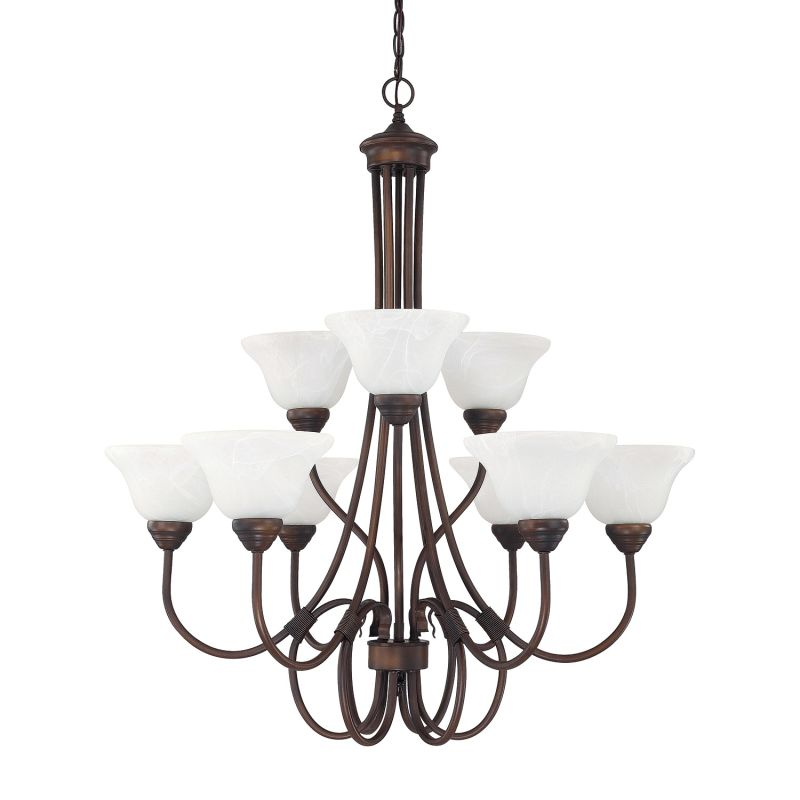 Capital Lighting 3229 Hometown 9 Light 2 Tier Chandelier Burnished