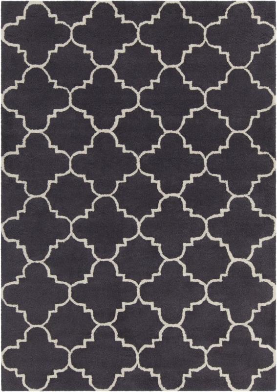 Chandra Rugs Davin 25845 Charcoal and White Wool Shag Area Rug Hand Sale $1104.00 ITEM: bci2781981 ID#:DAV25845-710 UPC: 849317043979 :