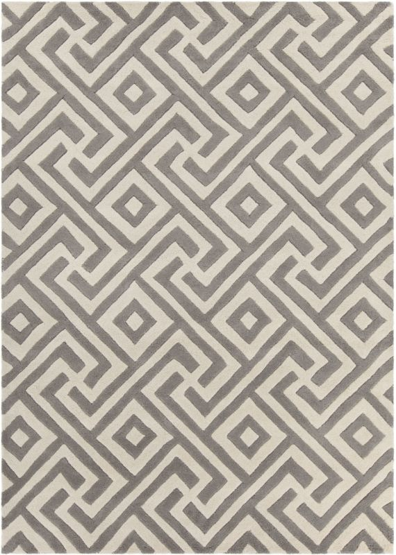 Chandra Rugs Davin 25849 Grey and Cream Imported Wool Shag Area Rug Sale $1104.00 ITEM: bci2781989 ID#:DAV25849-710 :