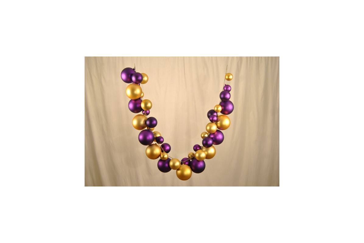 Christmas at Winterland WL-BGAR-09-PU/GO 9 Foot Purple and Gold Ball