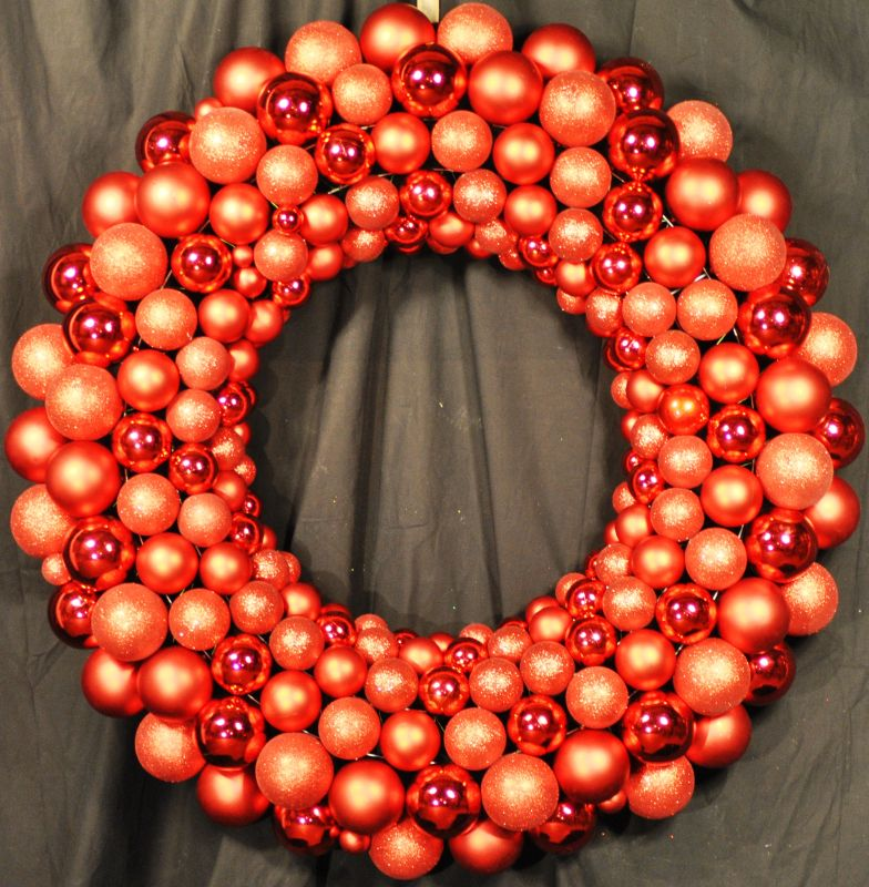 Christmas at Winterland WL-BWR-45-RE 4 Foot Red Ornament Wreath Indoor
