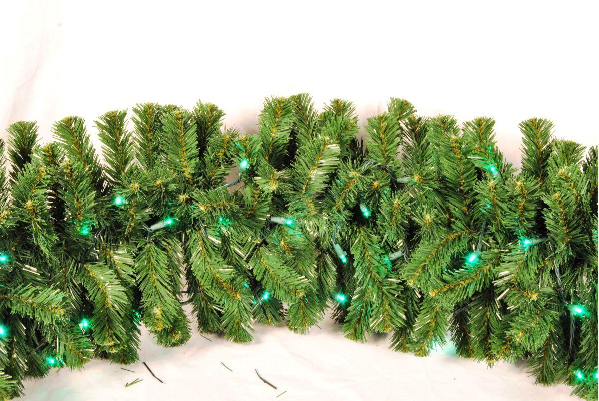 Christmas at Winterland WL-GARSQ-09-LGR 9 Foot Pre-Lit Green LED