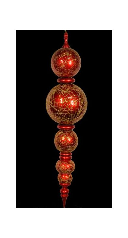 Christmas at Winterland WL-ORN-67.5-RE/GO 67.5 Inch Red and Gold
