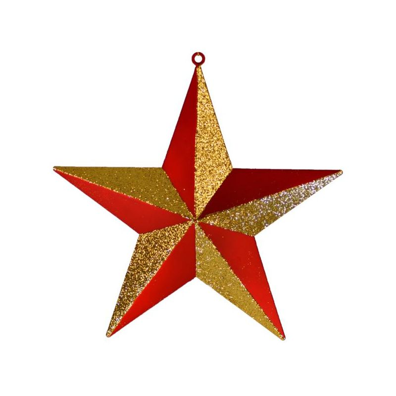 Christmas at Winterland WL-ORN-STAR-RE/GO 16 Inch Red and Gold Star