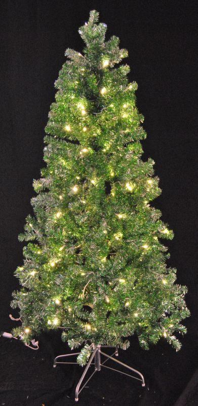 Christmas at Winterland WL-TTR-06-GR/SLV-LWW 6 Foot Tinsel Pre-Lit