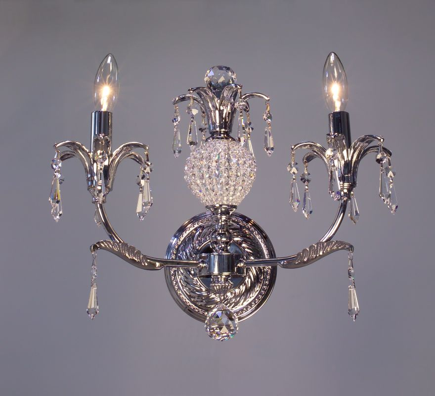 "Classic Lighting 16112-CH 12"" Crystal Wallchiere from the Sharon"