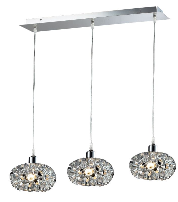 Classic Lighting 16153 CH Laguna 3 Light Pendant with Metal Shade