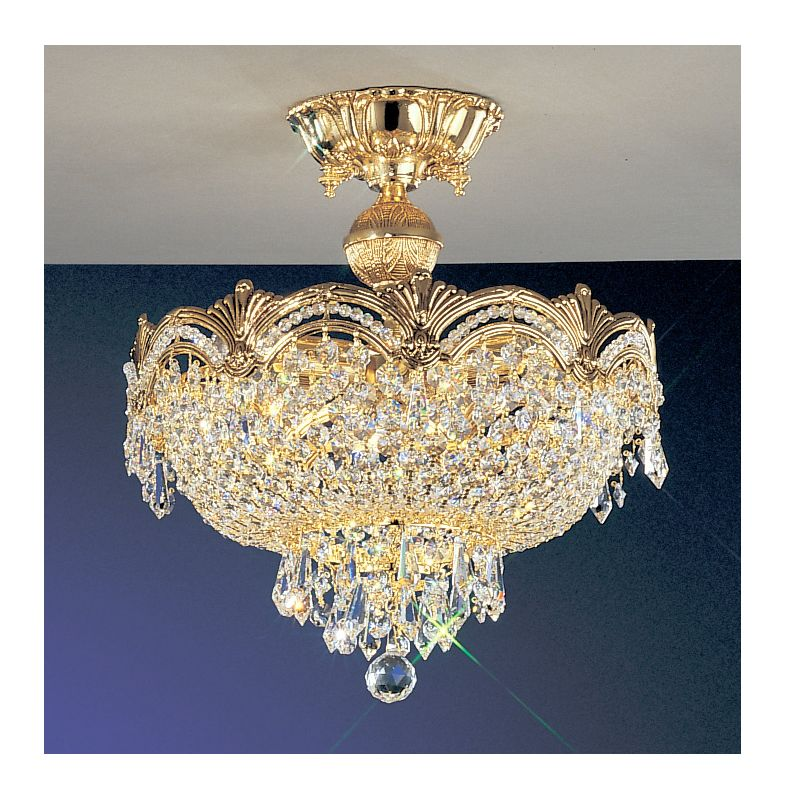 "Classic Lighting 1856-G 15"" Crystal Semiflush from the Regency II"
