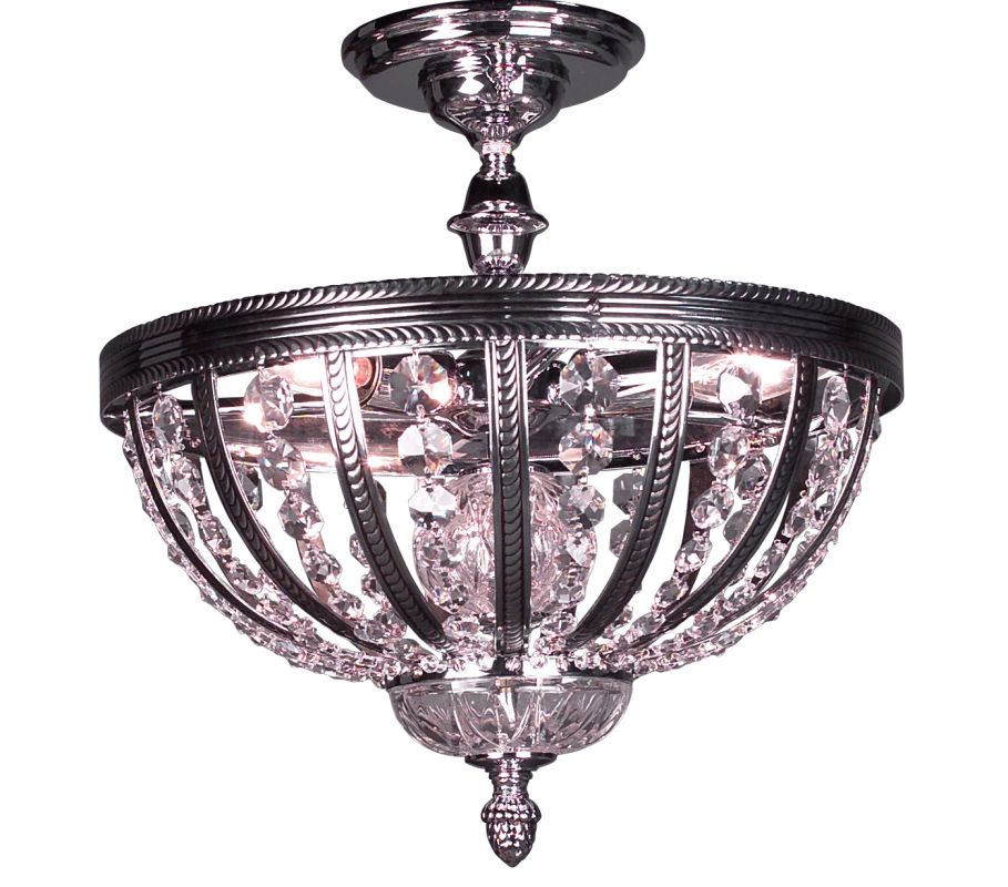 "Classic Lighting 1923-CHB 14"" Crystal Semiflush from the Terragona"