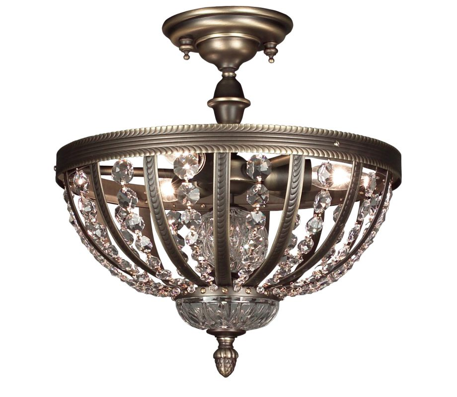 "Classic Lighting 1923-RB 14"" Crystal Semiflush from the Terragona"